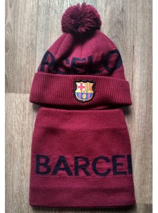 Шапка + бафф Барселона на бордовая