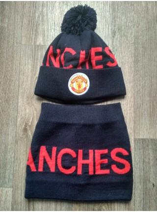 Шапка + бафф Манчестер Юнайтед на флисе темно синяя