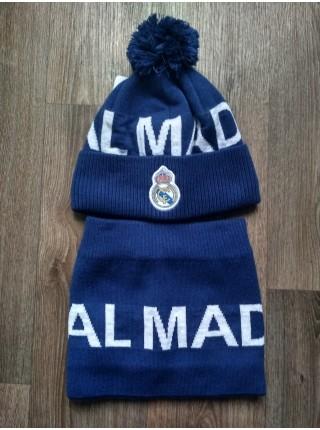Шапка + бафф Реал Мадрид на флисе синяя
