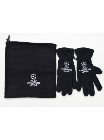 купить Комплект перчатки зимние + горловик  Лига Чемпионов черный