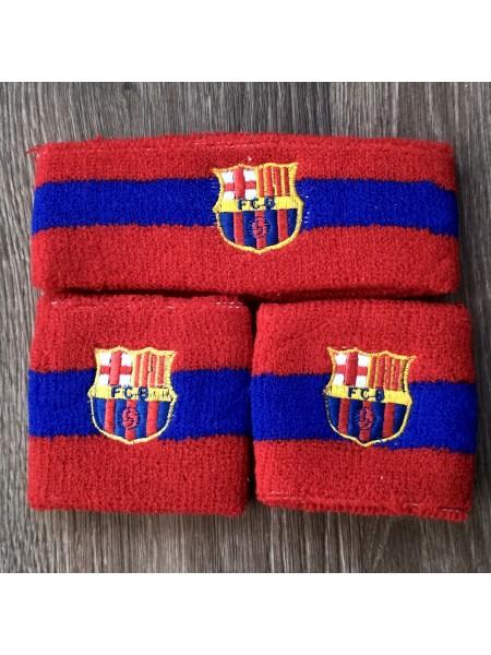 Комплект напульсники и повязка на голову Барселона красный