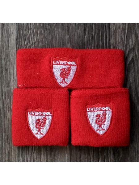 Комплект напульсники и повязка на голову Ливерпуль красный
