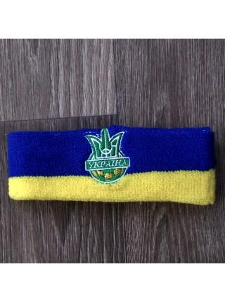 Комплект напульсники и повязка на голову Украина желто-синий