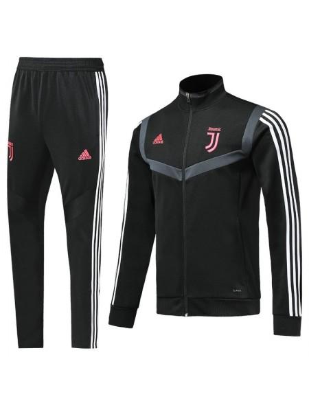 Спортивный костюм Ювентус черный с полосой 2019-2020