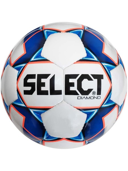 Мяч футбольный SELECT Diamond (310) бело сине оранжевый, размер 4