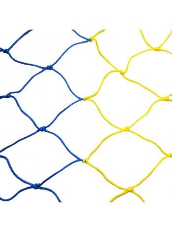 купить Сетка футбольная 7,5 х 2,55 х 1,5 м (желто-синяя)