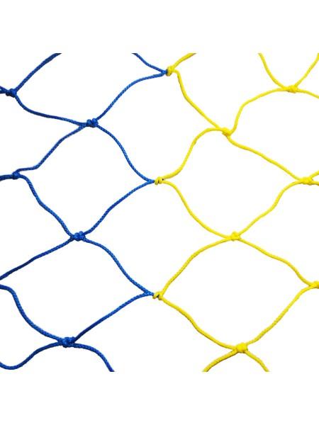 Сетка футбольная 7,5 х 2,55 х 2 м (желто-синяя)