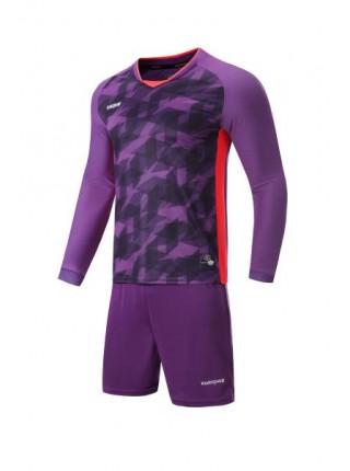 Футбольная форма с длинным рукавом Europaw 027 фиолетово-коралловая