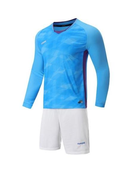 Футбольная форма с длинным рукавом Europaw 027 голубо-белая
