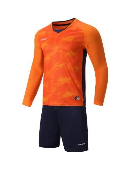 Футбольная форма с длинным рукавом Europaw 027 оранжево-темно синяя