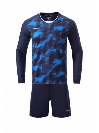 Футбольная форма с длинным рукавом Europaw 027 темно сине-синяя