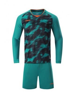 Футбольная форма с длинным рукавом Europaw 027  темно зелено-оранжевая