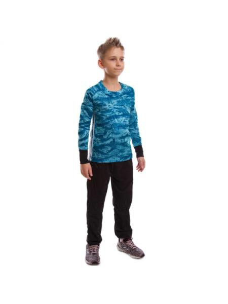 Детская вратарская футбольная форма камуфляж синяя