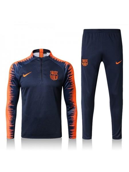 Детский тренировочный костюм Барселона сине-оранжевый 2018-2019