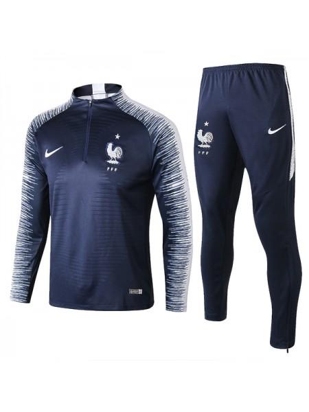Тренировочный костюм Франция темно-синий 2018-2019