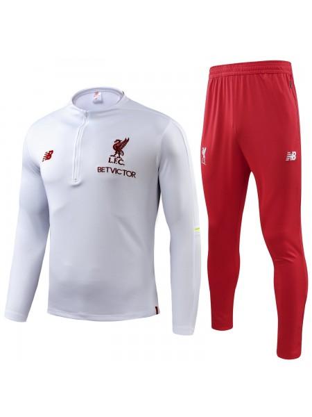 Детский тренировочный костюм Ливерпуль вишнево-белый 2018-2019