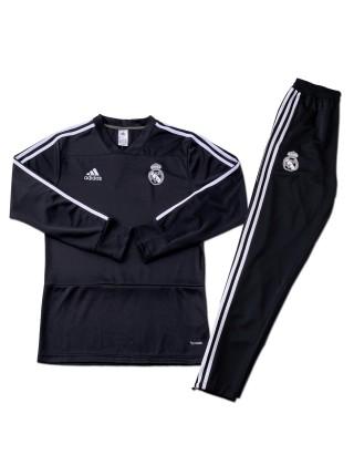 Детский тренировочный костюм Реал Мадрид черный 2018-2019