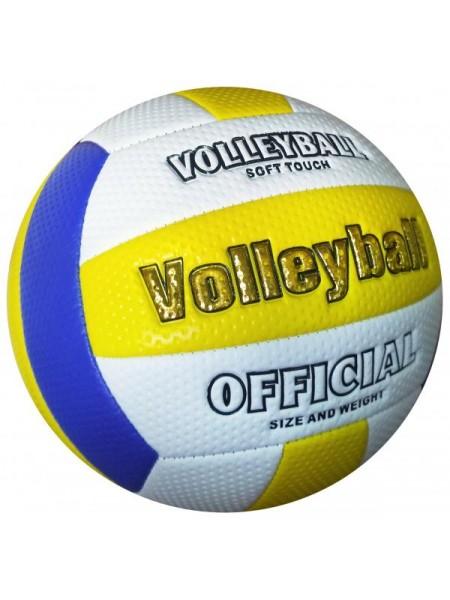 Мяч волейбольный soft touch (бело-сине-желтый)