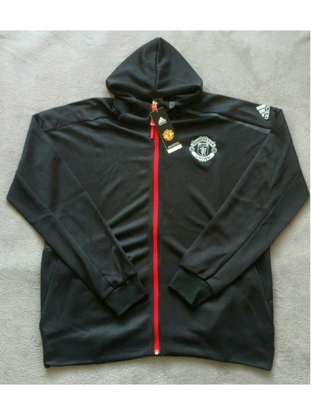 Олимпийка Манчестер Юнайтед черная 2017-2018 с капюшоном