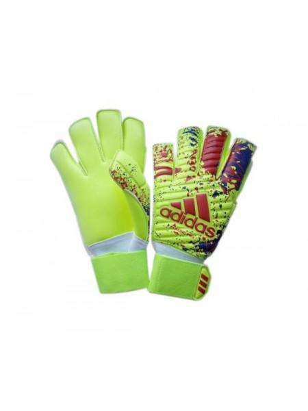 Вратарские перчатки Adidas 070 сине-салатовые