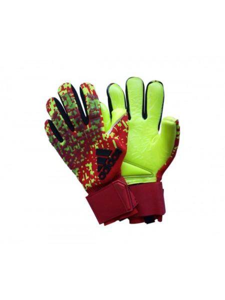 Вратарские перчатки Adidas 120 красно-салатовые