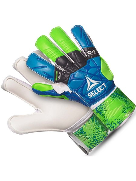 Детские вратарские перчатки SELECT 04 HAND GUARD (332) сине-зелено-белые