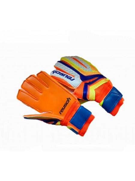 Вратарские перчатки Reusch оранжево-салатовые