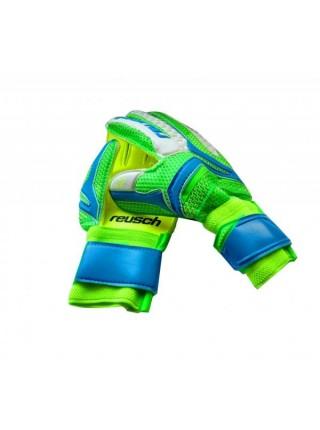 Вратарские перчатки Reusch салатово-голубые