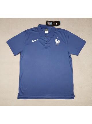 Футболка поло Франция синяя 2018-2019