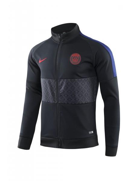 Спортивный костюм ПСЖ черный с серым 2019-2020