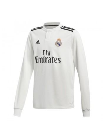 купить Детская футбольная форма Реал Мадрид домашняя 2018-2019 длинный рукав