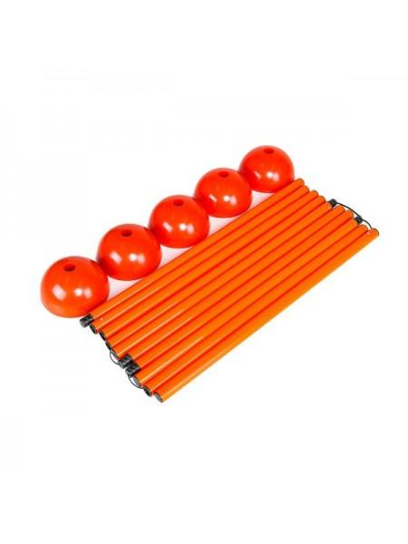 Стойка дриблинг с базой для помещения (комплект 5 шт. оранжевые) + сумка